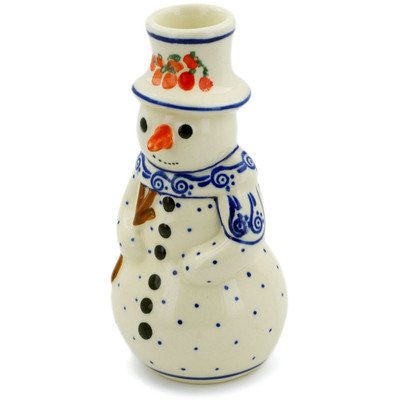 Polish Pottery Snowman Candle Holder 6""