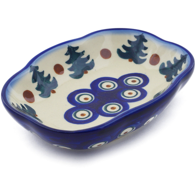 "Polish Pottery Soap Dish 5"" Autumn Evergreen"