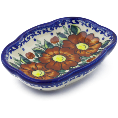 "Polish Pottery Soap Dish 5"" Autumn Pansies"