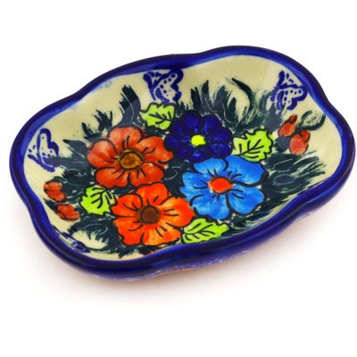 "Polish Pottery Soap Dish 5"" Butterfly Splendor UNIKAT"