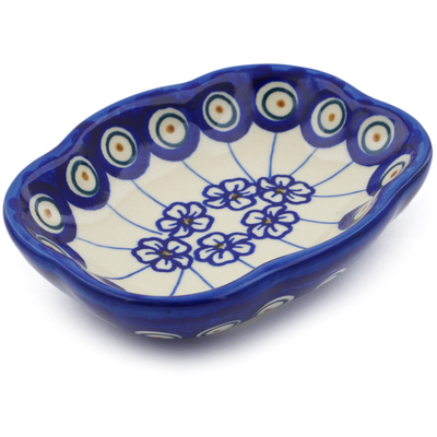 "Polish Pottery Soap Dish 5"" Flowering Peacock"