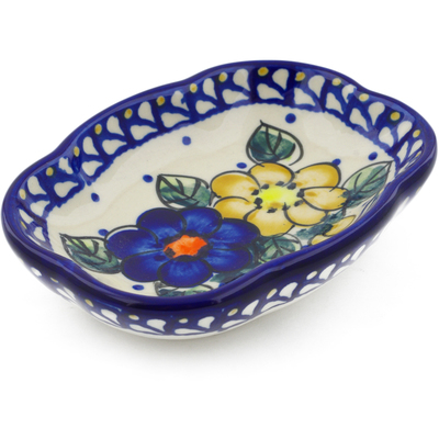 "Polish Pottery Soap Dish 5"" Pansy Circle"
