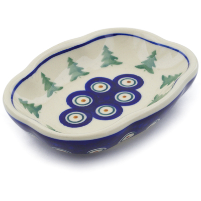 "Polish Pottery Soap Dish 5"" Peacock Pines"