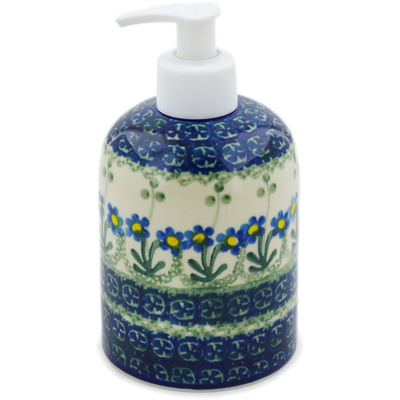 "Polish Pottery Soap Dispenser 5"" Blue Daisy Circle"