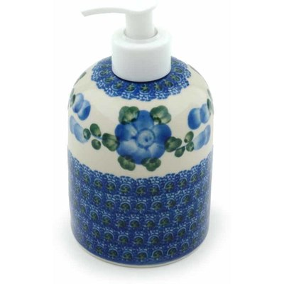 "Polish Pottery Soap Dispenser 5"" Blue Poppies"