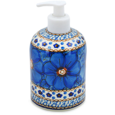 "Polish Pottery Soap Dispenser 5"" Cobalt Poppies UNIKAT"