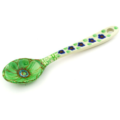 "Polish Pottery Spoon 5"" Key Lime Dreams UNIKAT"