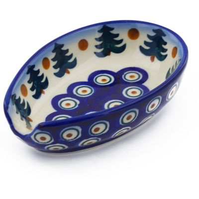 "Polish Pottery Spoon Rest 5"" Autumn Evergreen"