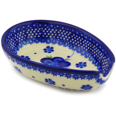 "Polish Pottery Spoon Rest 5"" Bleu-belle Fleur"