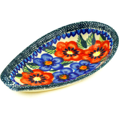 "Polish Pottery Spoon Rest 5"" Blue And Red Poppies UNIKAT"