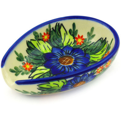"Polish Pottery Spoon Rest 5"" Blue Bouquet UNIKAT"