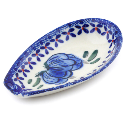 "Polish Pottery Spoon Rest 5"" Blue Bulbs"