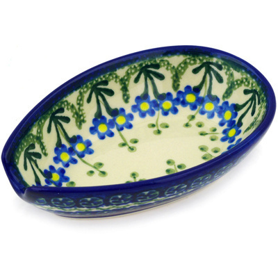"Polish Pottery Spoon Rest 5"" Blue Daisy Circle"