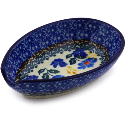 "Polish Pottery Spoon Rest 5"" Blue Forget-me-nots"