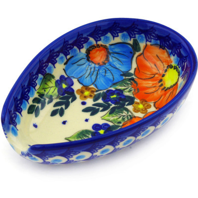 "Polish Pottery Spoon Rest 5"" Bold Poppies UNIKAT"