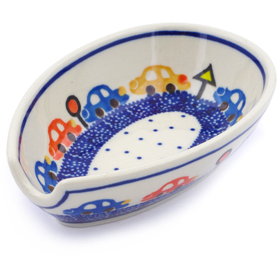 "Polish Pottery Spoon Rest 5"" Cars"