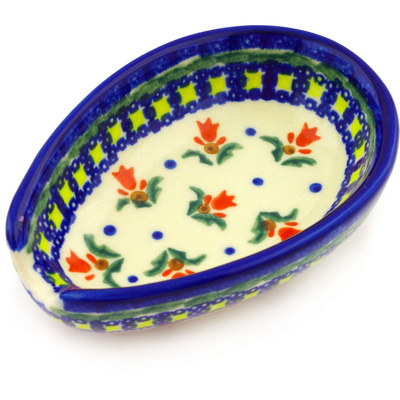 "Polish Pottery Spoon Rest 5"" Cocentric Tulips"