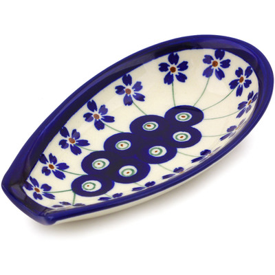 "Polish Pottery Spoon Rest 5"" Flowering Peacock"
