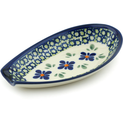 "Polish Pottery Spoon Rest 5"" Gingham Flowers"