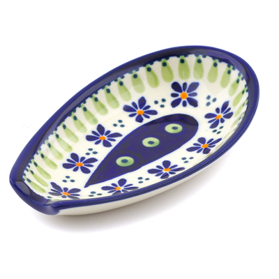 "Polish Pottery Spoon Rest 5"" Green Gingham Peacock"