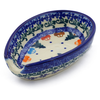 "Polish Pottery Spoon Rest 5"" Holiday Drive"
