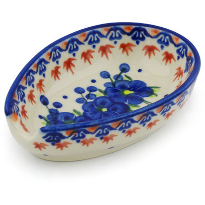 "Polish Pottery Spoon Rest 5"" Passion Poppy"