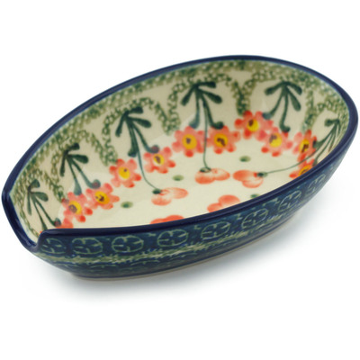 "Polish Pottery Spoon Rest 5"" Peach Spring Daisy"