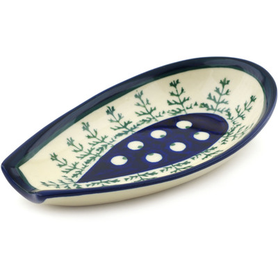 "Polish Pottery Spoon Rest 5"" Peacock In The Pines"