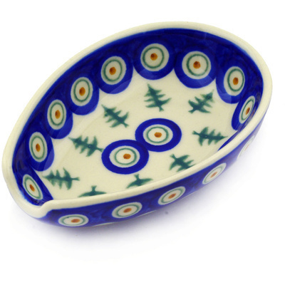 "Polish Pottery Spoon Rest 5"" Peacock Pines"