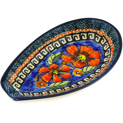 "Polish Pottery Spoon Rest 5"" Poppies UNIKAT"