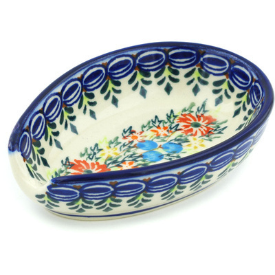 "Polish Pottery Spoon Rest 5"" Ring Of Flowers UNIKAT"