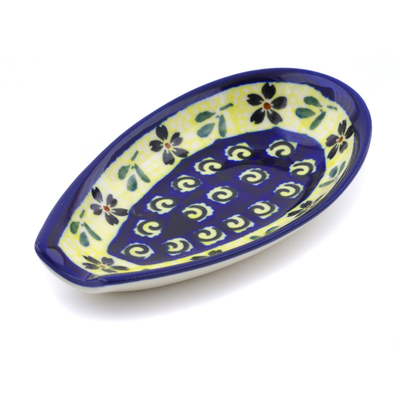 "Polish Pottery Spoon Rest 5"" Stargazer Fields"