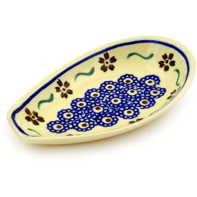 "Polish Pottery Spoon Rest 5"" Sweet Red Flower"