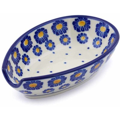 "Polish Pottery Spoon Rest 5"" Wreath Of Blue"