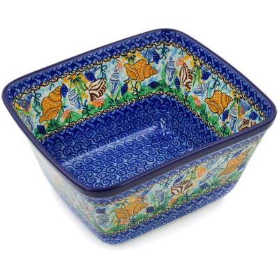 "Polish Pottery Square Baker 9"" Ocean Whisper UNIKAT"