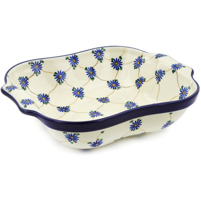 "Polish Pottery Square Baker with Handles 11"" Aster Trellis"