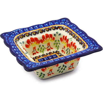 "Polish Pottery Square Bowl 5"" Blooming Red"