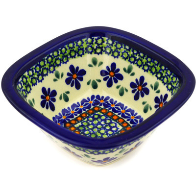 "Polish Pottery Square Bowl 5"" Gingham Flowers"