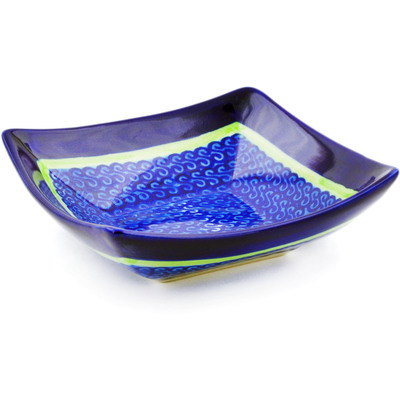 "Polish Pottery Square Bowl 5"" Midnight Eclipse"