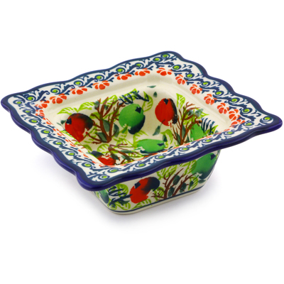 "Polish Pottery Square Bowl 5"" Red And Green Berries"