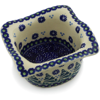 "Polish Pottery Square Bowl 6"" Falling Snowflakes"