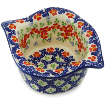 "Polish Pottery Square Bowl 6"" Red Chains UNIKAT"