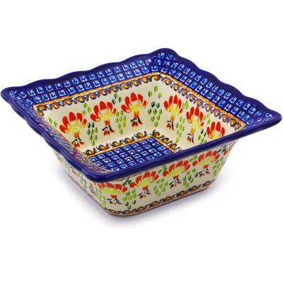 "Polish Pottery Square Bowl 7"" Blooming Red"