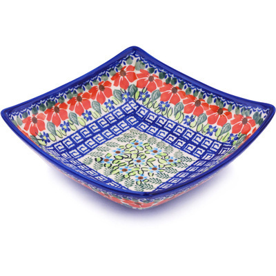 "Polish Pottery Square Bowl 8"" Grecian Fields"