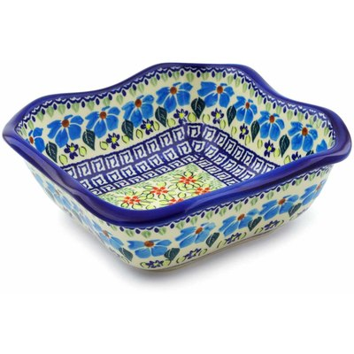 "Polish Pottery Square Bowl 8"" Pansy Morning"