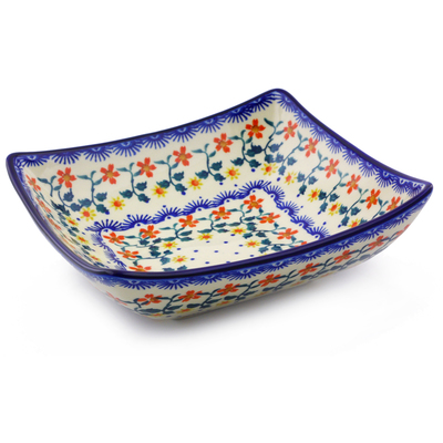 "Polish Pottery Square Bowl 8"" Red Sunflower"