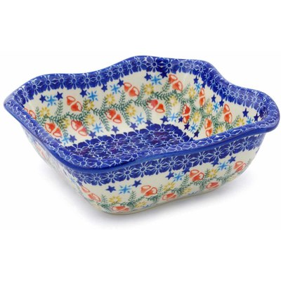 "Polish Pottery Square Bowl 8"" Wreath Of Bealls"