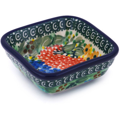 Polish Pottery Square Bowl Small Garden Delight UNIKAT