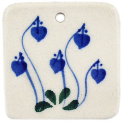 "Polish Pottery Square Pendant 2"" Bleeding Heart Peacock"