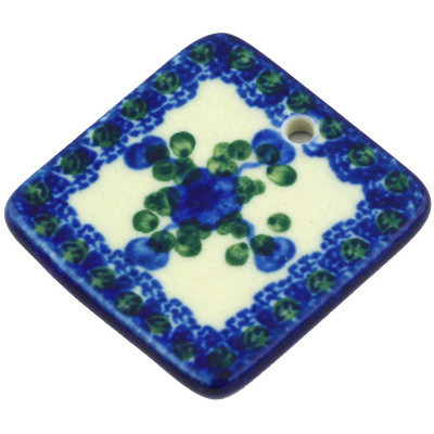 "Polish Pottery Square Pendant 2"" Blue Poppies"